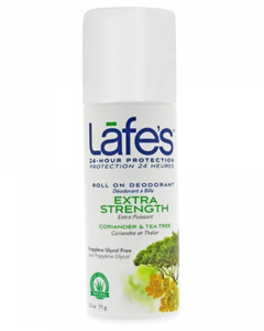 "Lafe's deodorant in a convenient roll-on formula. Our tea tree oil scented deodorant is made with tea tree essential oil that fights odor causing bacteria without the use of harmful chemicals. Lafe's roll-on deodorants have been honored with several awards, including Natural Solutions ""Beauty with a Conscience"" award two years in a row."