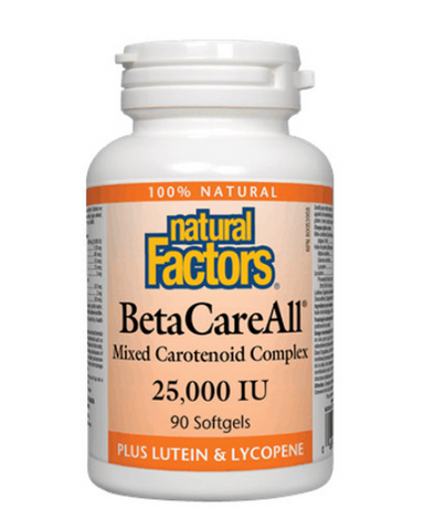 Natural Factors BetaCareAll is a unique mixed carotenoid formula containing natural beta-carotene and beneficial carotenoids such as lycopene and lutein. Converted into vitamin A in the body, beta-carotene is essential to many processes, including maintenance of healthy skin, vision, mucous membranes, bones and teeth, and immune function.