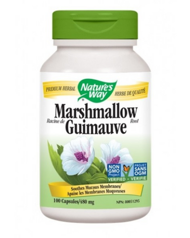Marshmallow is known for its mucilaginous qualities.  Soothes Mucous Membranes.  Traditionally used in herbal medicine as a demulcent to relieve the irritation of the oral and pharyngeal mucosa and associated dry cough.