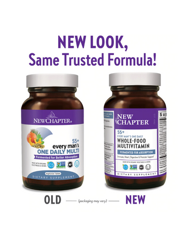Every Man's One Daily 55+ Multivitamin delivers Astaxanthin from organic Algae, Vitamins C, E, and D3, fermented Selenium and Saw Palmetto to support overall wellness for men aged 55+.* It is Iron-free and whole-food fermented. And our fermentation process unleashes Beta-Glucans, Nature's own immune boosters, for your benefit.
