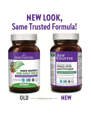 For thousands of years, societies around the world have been fermenting foods with good bacteria to create healthy, gentle products such as miso. New Chapter brings this traditional fermentation process to all of our multivitamins, delivering vitamins and minerals that are cultured with organic yeast and live probiotics (no live probiotics remain in these products). Our multivitamins also deliver targeted organic medicinal herbs and are formulated for every life stage, such as Every Woman's One Daily—the co