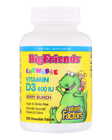 "Big Friends children's vitamins are back in a big way, and now better than ever. Big Friends Chewable Vitamin D3 400 IU from Natural Factors is a great-tasting, natural source of the ""sunshine vitamin"", essential for building strong, healthy bones and teeth. Ideal for all children, these small, chewable tablets support calcium and phosphorus absorption, and make it fun and easy to support growing children."