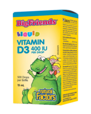 Big Friends® children's vitamins are back in a big way, and now better than ever. Vitamin D3 is the most bioavailable form of this essential nutrient needed for kids to build healthy bones and teeth. Big Friends Liquid Vitamin D3 400 IU from Natural Factors comes in a baby-safe, measured dropper for accurate dosing and is a, natural oil-based formula ideal for all kids, even infants.