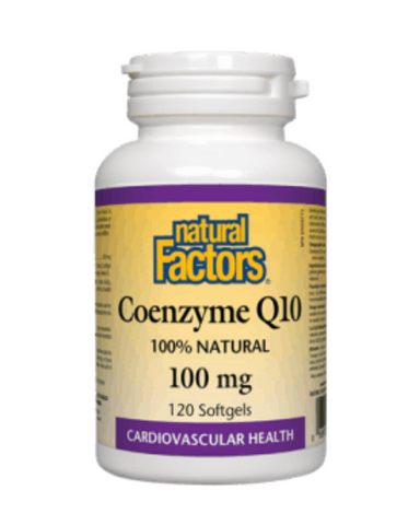 Coenzyme Q10 is a vitamin-like essential nutrient that helps increase levels of cellular energy production and is required by every cell in our body. Known to support cardiovascular health and cellular vigour. Natural Factors Coenzyme Q10 100 mg is 100% natural, consisting of the form identical to the body's own CoQ10.