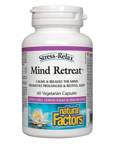 Stress-Relax Mind Retreat contains gamma-aminobutyric acid (GABA), lemon balm, magnesium, and vitamin B6, key nutrients that help cope with occasional stress. Mind Retreat promotes relaxation, reduces restlessness, and can be used as a sleep aid for periodic insomnia. It features clinically tested natural Pharma GABA™, shown to help calm a racing mind.
