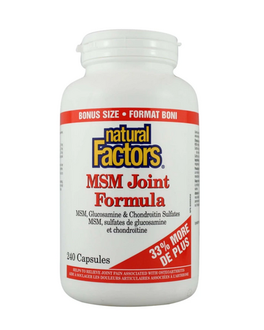 Natural Factors MSM Joint Formula contains MSM, glucosamine, and chondroitin sulphate for triple action joint health support. Combining these top three joint support nutrients in one formula improves joint lubrication, fights inflammation, and helps repair cartilage. It works to relieve joint pain associated with osteoarthritis and protects against cartilage deterioration.