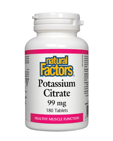 Natural Factors Potassium Citrate is a mineral supplement for the maintenance of good health. An essential mineral, potassium is found mainly in the intracellular fluid of the body where it controls the body's water balance.