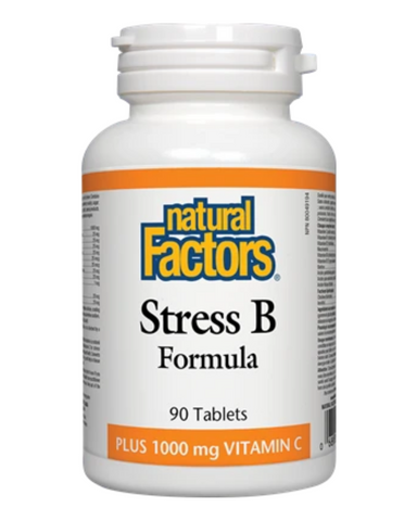 Natural Factors Stress B Formula contains a unique blend of B vitamins plus 1000 mg of vitamin C to help combat the negative effects of stress and for the maintenance of good health. B vitamins help enzymes in the body and are involved in energy production and red blood cell formation.