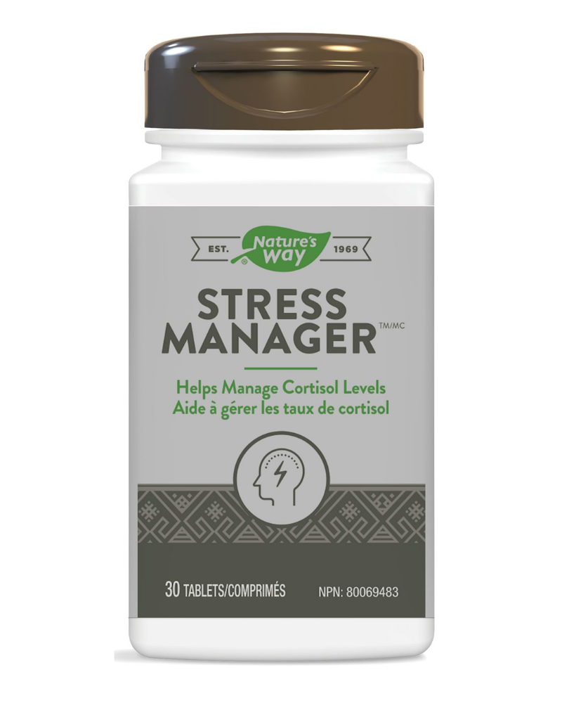 Nature's Way Stress Manager is a unique combination of herbal ingredients that helps reduce the symptoms of stress such as fatigue, sleeplessness, irritability and inability to concentrate. Nature's Way Stress Manager is Vegetarian.