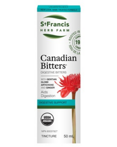 Relieve your digestive disturbances and support your digestive fire with our unique St.Francis Canadian Bitters formula. Traditionally used in Herbal Medicine: (1) as a digestive tonic and bitter to help stimulate appetite and aid digestion (stomachic); (2) to help prevent nausea (anti-emetic); (3) to help relieve digestive disturbances/dyspepsia.
