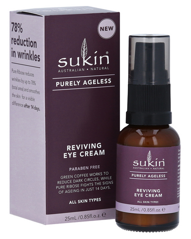 Sukin Purely Ageless Reviving Eye Cream offers antioxidant-rich hydration and smoothing to the sensitive area around the eyes. With Green Coffee as its key ingredient, our Reviving Eye Cream works to reduce the appearance of dark circles. Vitamin-rich Rosehip Oil work to fight free radicals preventing fine lines, while our powerhouse, firming active Pure Ribose reduces the appearance of wrinkles by up to 78%- yes, please!