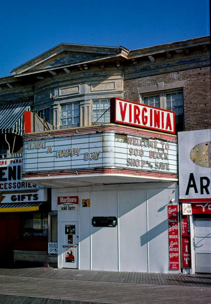 Historic Photo : 1978 Virginia Theater, vertical, The Boardwalk, Atlantic City, New Jersey | Margolies | Roadside America Collection | Vintage Wall Art :