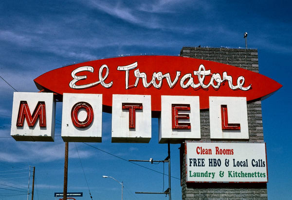 Historic Photo : 2003 El Travatore Motel sign, Route 66, Kingman, Arizona | Margolies | Roadside America Collection | Vintage Wall Art :