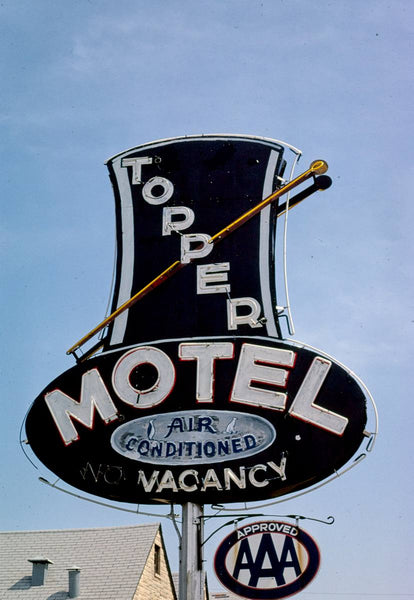 Historic Photo : 1980 Topper Motel sign, Route 30, Boone, Iowa | Margolies | Roadside America Collection | Vintage Wall Art :