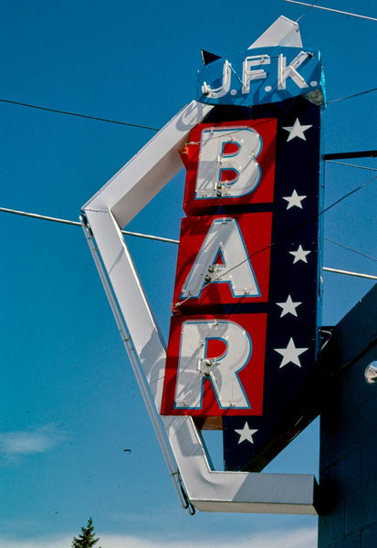 Historic Photo : 2004 J.F.K. Bar sign, Park Avenue, Anaconda, Montana | Margolies | Roadside America Collection | Vintage Wall Art :