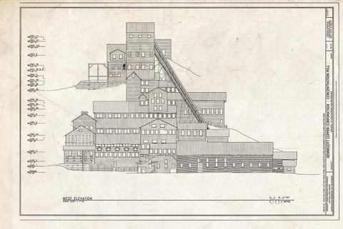 Blueprint West Elevation - Kennecott Copper Corporation, Concentration Mill, On Copper River & Northwestern Railroad, Kennicott, Valdez-Cordova Census Area, AK