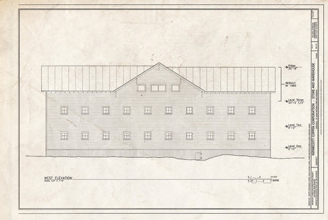 Blueprint West Elevation - Kennecott Copper Corporation, Company Store & Warehouse, On Copper River & Northwestern Railroad, Kennicott, Valdez-Cordova Census Area, AK