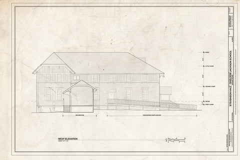 Blueprint West Elevation - Sheldon Jackson College, Stevenson Hall, Baranof Island, Sitka, Sitka Borough, AK