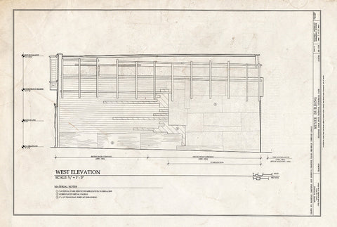 Blueprint West Elevation - Meyer Meat Market Building, 495 State Street, Skagway, Skagway, AK