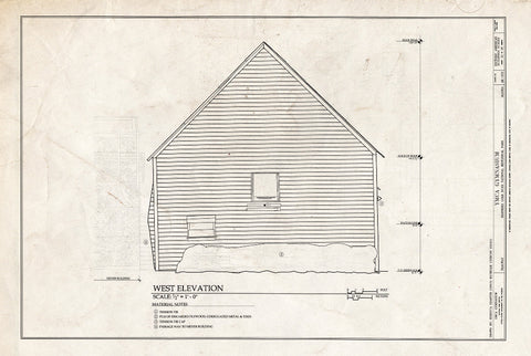 Blueprint West Elevation - YMCA Gymnasium, 475 State Street, Skagway, Skagway, AK