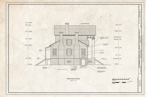 Blueprint West Elevation - Saunders-Goode-Hall House, State Highway 101, Town Creek, Lawrence County, AL
