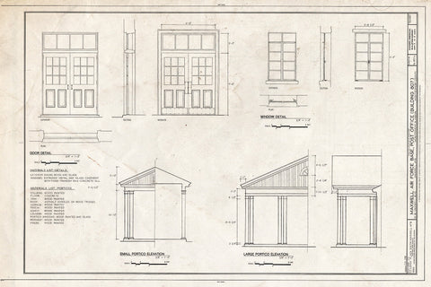 Blueprint Window detail, Small portico elevation & large portico elevation - Maxwell Air Force Base, Post Office, 61 West Maxwell Boulevard, Montgomery, Montgomery County, AL
