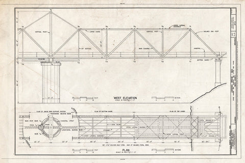 Blueprint West Elevation and Plan - Judsonia Bridge, Spanning Little White River at County Road 66, Judsonia, White County, AR