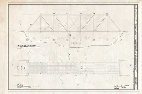 Blueprint West Elevation and Plan - Fryer's Ford Bridge, Spanning East Fork of Point Remove Creek at Fryer Bridge Road (CR 67), Solgohachia, Conway County, AR