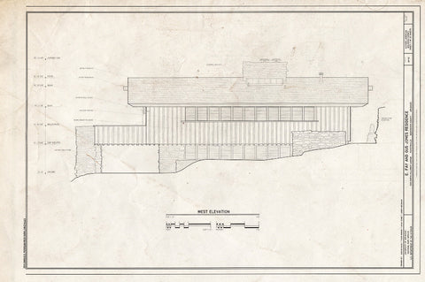 Blueprint West Elevation - E. Fay & Gus Jones House, 1330 North Hillcrest Avenue, Fayetteville, Washington County, AR