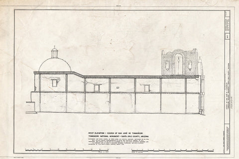 Blueprint West Elevation, Church - San Jose de Tumacacori (Mission, Ruins), Tubac, Santa Cruz County, AZ