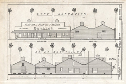 Blueprint West Elevation, East Elevation - National Orange Company Packing House, 3604 Commerce Street, Riverside, Riverside County, CA