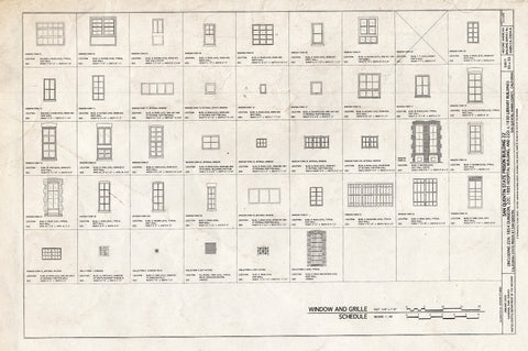 Blueprint Window and Grille Schedule - San Quentin State Prison, Building 22, Point San Quentin, San Quentin, Marin County, CA