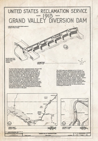 Blueprint Isometric and maps - Grand Valley Diversion Dam, Half a Mile North of Intersection of I-70 & Colorado State Route 65, Cameo, Mesa County, CO