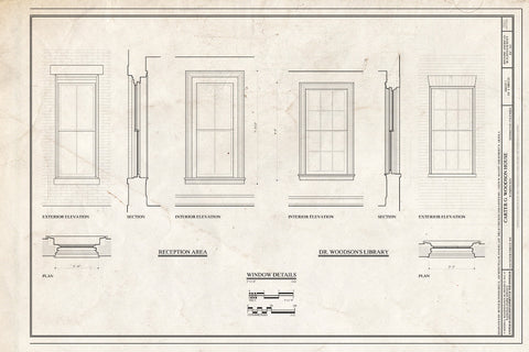 Blueprint Window Details. - Carter G. Woodson House, 1538 Ninth Street Northwest, Washington, District of Columbia, DC