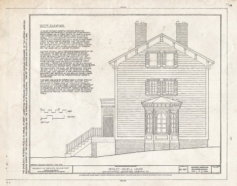 Blueprint West Elevation - Medley-Sewell House, 1545 Thirty-Fifth Street, Northwest, Washington, District of Columbia, DC