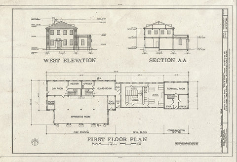 Blueprint West Elevation, Section, and First Floor Plan - MacDill Air Force Base, Fire & Guard House, 2709 Florida Keys Avenue, Tampa, Hillsborough County, FL