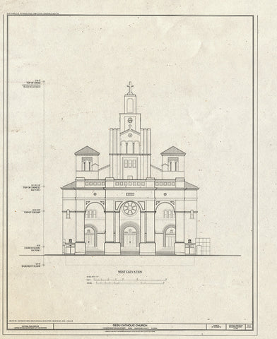Blueprint West Elevation - Gesu Catholic Church, 118 Northeast Second Street, Miami, Miami-Dade County, FL