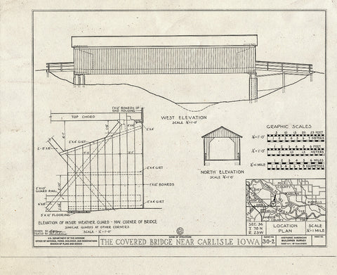 Blueprint West Elevation, North Elevation, Elevation of Inside Weather Guard, Location Plan - Covered Bridge, Carlisle, Warren County, IA