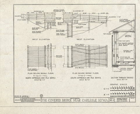 Blueprint West Elevation, Plan Below Bridge Floor, Section Through Bridge - Covered Bridge, Carlisle, Warren County, IA