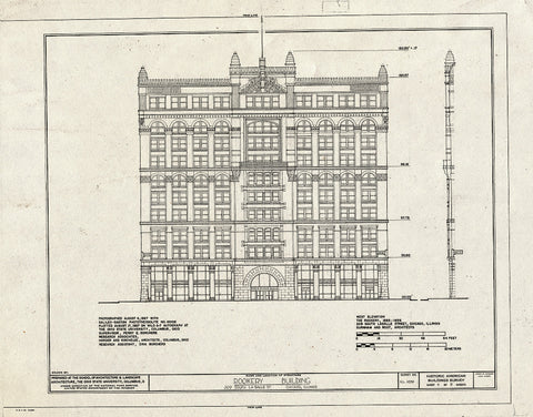 Blueprint West Elevation - Rookery Building, 209 South Lasalle Street, Chicago, Cook County, IL