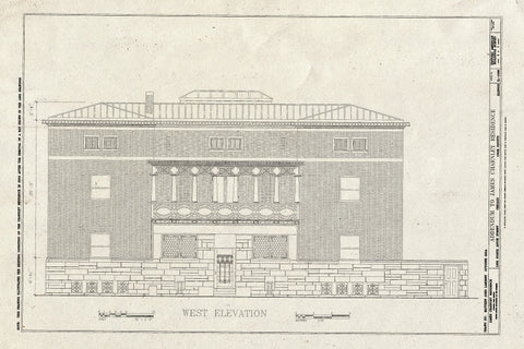 Blueprint West Elevation - James Charnley House, 1365 North Astor Street, Chicago, Cook County, IL