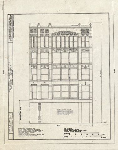 Blueprint West Elevation - Jewelers' Building, 15-19 South Wabash Avenue, Chicago, Cook County, IL