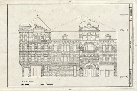Blueprint West Elevation - Thalia Hall, 1215-1225 West Eighteenth Street, Chicago, Cook County, IL