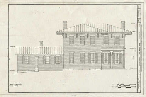 Blueprint West Elevation - U.S. Grant House, Bouthillier & Fourth Street, Galena, Jo Daviess County, IL