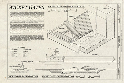 Blueprint Wicket Gates - Illinois Waterway, U.S. Army Corps of Engineers, Rock Island District, Rock Island, Rock Island County, IL