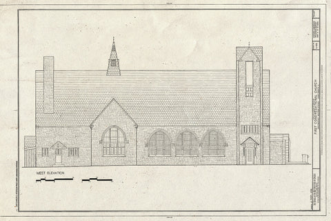 Blueprint West Elevation - First Congregational Church, 1106 Chestnut Street, Western Springs, Cook County, IL