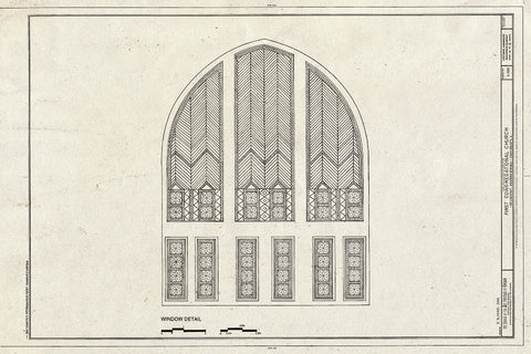 Blueprint Window Detail - First Congregational Church, 1106 Chestnut Street, Western Springs, Cook County, IL