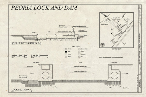 Blueprint Wicket Gate Section BB, Lock Section CC - Illinois Waterway, Peoria Lock and Dam, 1071 Wesley Road, Creve Coeur, Tazewell County, IL