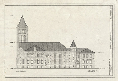 Blueprint West Elevation - Library Hall, 1409 West Green Street, Urbana, Champaign County, IL