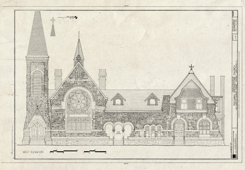 Blueprint West Elevation - Pullman Greenstone Church, 11211 South St. Lawrence Avenue, Chicago, Cook County, IL